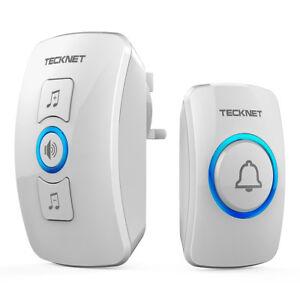 TeckNet 32 Chimes Wireless Doorbells Wall Plug-in Waterproof Door Chime Kit 250M