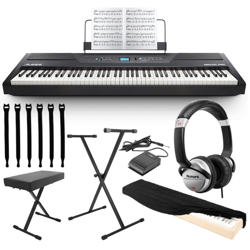 Alesis Recital Pro 88-Key Digital Piano  + Stand,Bench,Pedal,Headphone & Cover