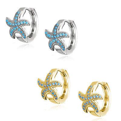 White Gold Starfish Earrings - Nautical Starfish Huggie Hoop Earrings Micro Blue Topaz 14K Yellow Or White Gold
