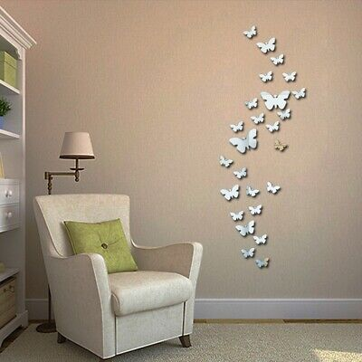 Home Wall Decals (3D Mirrors Butterfly Wall Stickers DIY Removable Art Decals Home Mural)