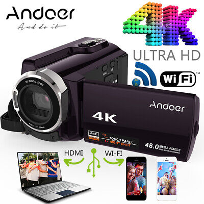 "Andoer 3"" 4K 48MP 16X Zoom WiFi FULL HD Digital Video Camera Camcorder DSLR V1K6"