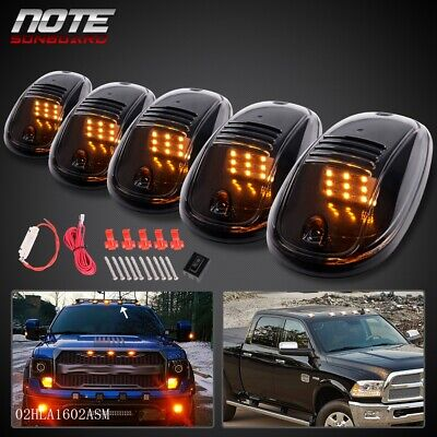 5PCS FIT FOR CAR VEHICLE TRUCK ROOF AMBER LED MARKER LIGHTS LAMPS W/ WIRING KIT