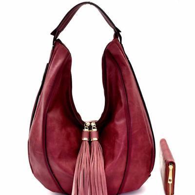 Tassel Accented Hobo Handbag - Tassel Accent Single Strap Hobo Handbag + Wallet SET