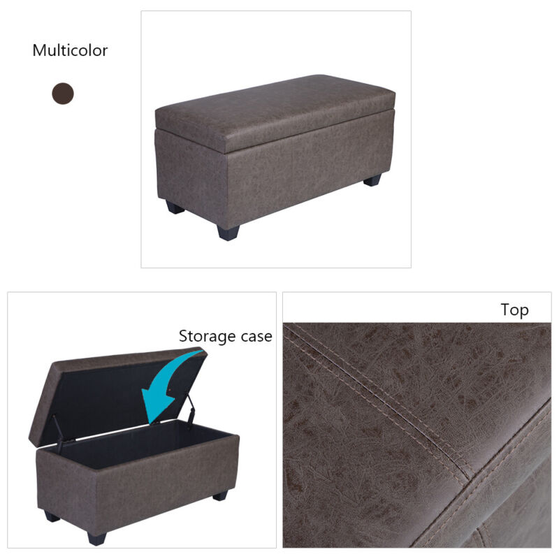 Retro Brown PU Leather Storage Ottoman Lift Top Stool Footrest Bench Tufted Seat