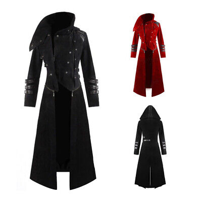 Vintage Men Gothic Steampunk Coat Tailcoat Costume Adult Trench Vampire - Tailcoat Costume