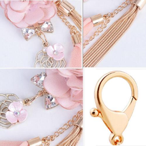 Rose Flowers Keychain Key Chain Gold Color Chain Tassel Key Ring Charm Pendant