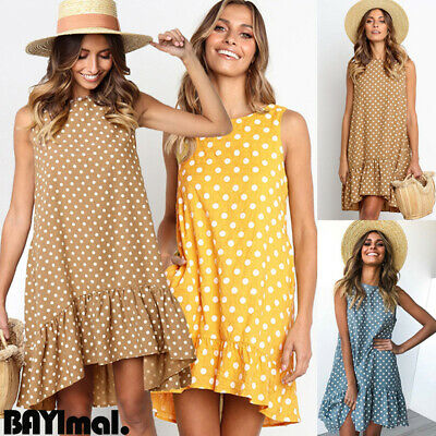 Women Loose Spotted Sleeveless Shirt Dress Ladies Summer Holiday A Line Sundress