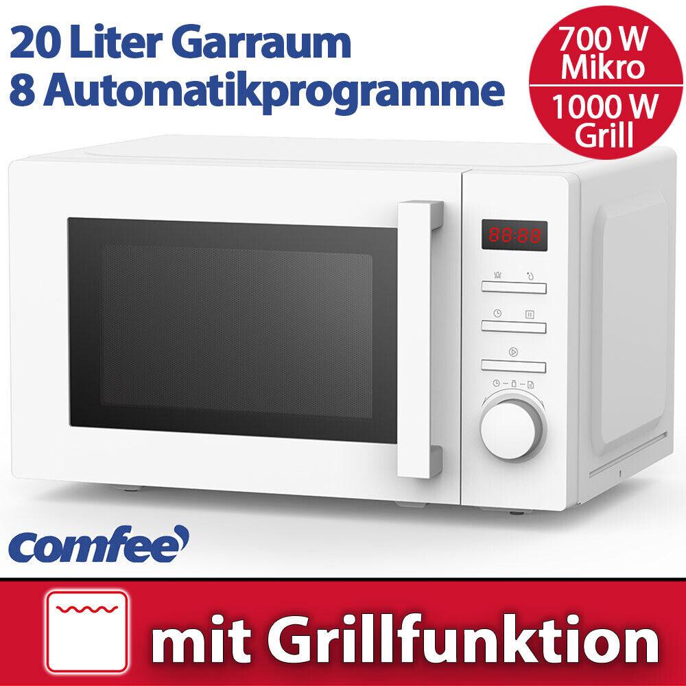 Comfee Kombi Mikrowelle 700 W mit Grill 1000 W weiß Timer Stand Mikro Display