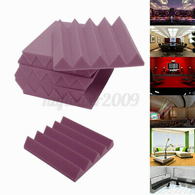 24 Pack Purple Acoustic Foam Panel Wedge Studio Soundproofing Wall Tiles Set E