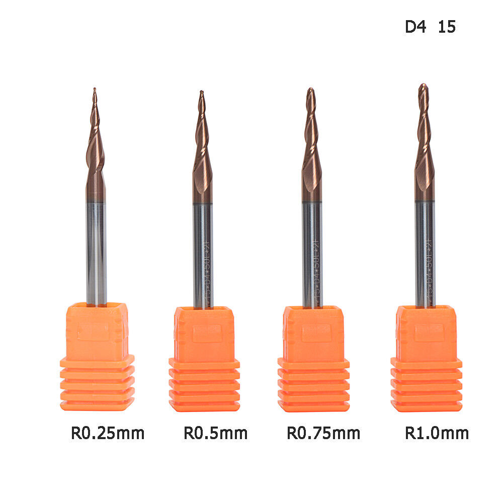 4MM Shank Tapered End Mill Nose Ball Radius 0.25mm H-Si Coat Overall Length 50mm