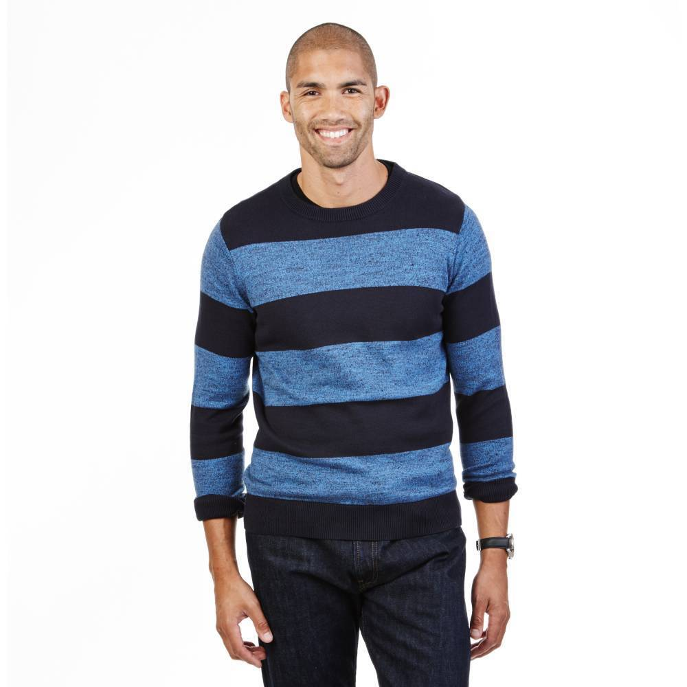 NWT Nautica Men's Heathered Stripe Windward Star Sapphire Blue Sweater Clothing, Shoes & Accessories