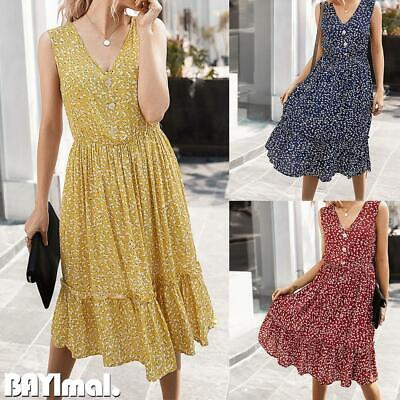 Women Floral V Neck Sleeveless Midi Dress Ladies Casual Summer Loose Frill Dress