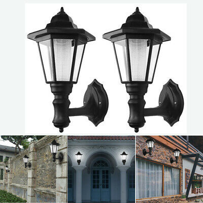 Waterproof Outdoor Solar Powered Lanterns Lights Hexagonal Lamp Wall Mount -