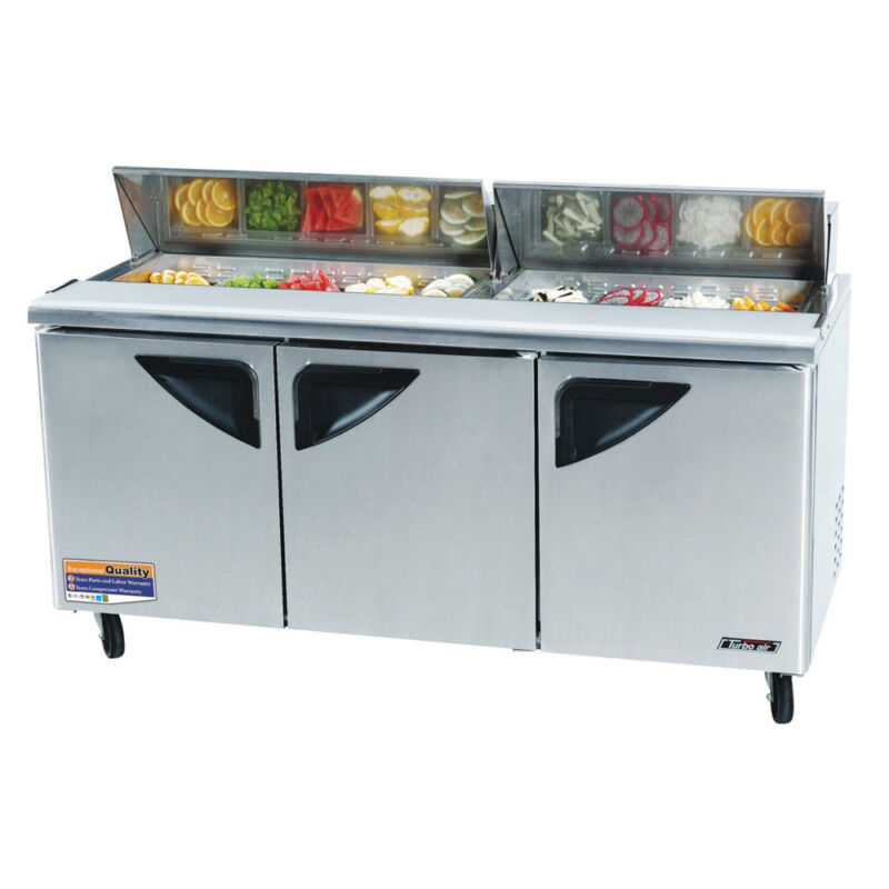 Turbo Air Tst-72sd, 72-inch Refrigerated Sandwich / Salad Prep. Table
