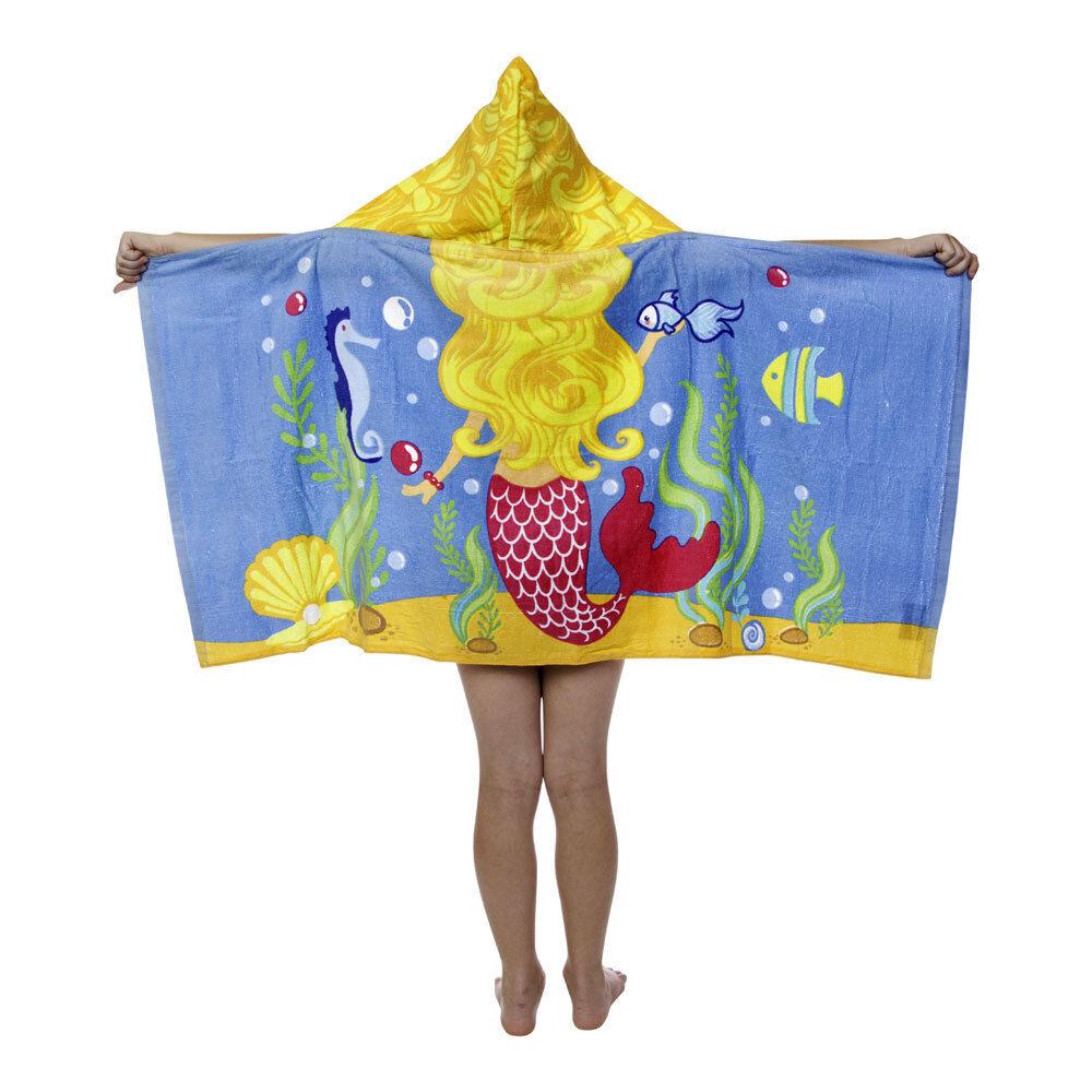 Kids Toddler Girls Princess Lil Mermaid Hooded Poncho Towel
