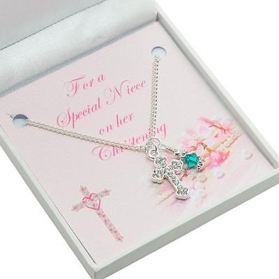 Geschenk für Mädchen Taufe Tag, Kreuz Halskette mit für Tochter Usw. (Kreuz Halskette Für Mädchen)