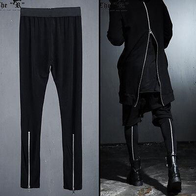 ByTheR Unique Urban Casual Black Back Silver Zipper Detail Mens Leggings Pants