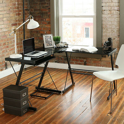 New Computer Desk PC Spyglass Laptop Table Workstation Corner Home Office L-Shape