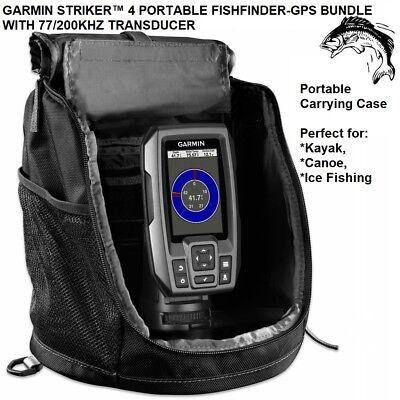 GARMIN STRIKER™ 4 PORTABLE FISHFINDER-GPS BUNDLE WITH 77/200KHZ TRANSDUCER 58948 200 Khz Gps Fishfinder