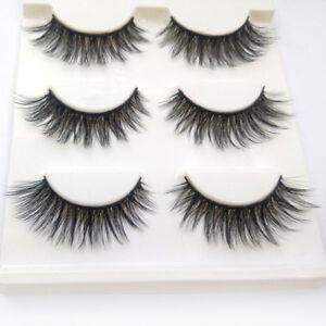 6fc2f47bbfd 3 Pairs 100% Real 3D Mink Makeup Cross False Eyelashes Eye Lashes Handmade