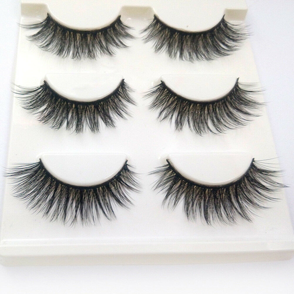 3 Pairs 100% Real 3D Mink Makeup Cross False Eyelashes Eye L