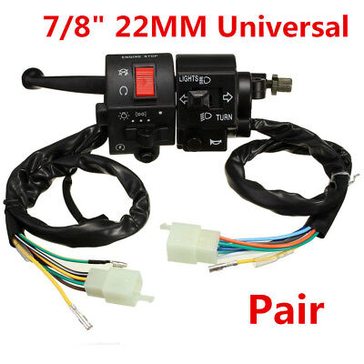 "Motorcycle 7/8"" 22mm Handlebar Horn Turn Signal Electrical Start Switch 12V DC"
