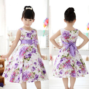 Chic-Girls-Kids-Princess-Wedding-Party-Purple-Flower-Bow-Gown-Full-Dresses-2-11Y