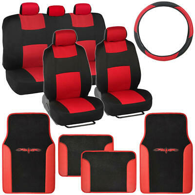 14Pc Car Seat Covers Set Full Bench Black & Red w/ PU Leather Carpet Floor Mat