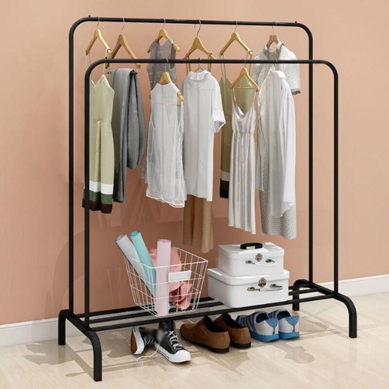 Garderobenständer Kleiderständer aus Metall 2 Kleiderstangen 1 Ablage
