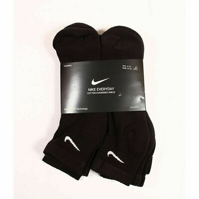 NIKE Mens 3 OR 6 PAIRS PACK BLACK CUSHION COTTON QUARTER ANKLE SOCKS Shoe -