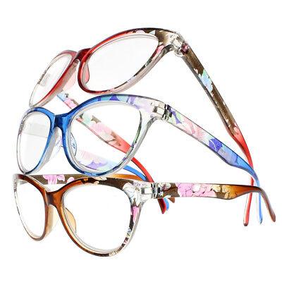 Women Retro Style Cat Eye Flower Nerd Geek Reader Reading Glasses +1.00 ~ (Geek Flowers)