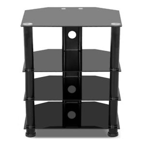 Glass Media Component TV Stand Audio Stereo Hi-Fi AV Entertainment Cabinet Rack