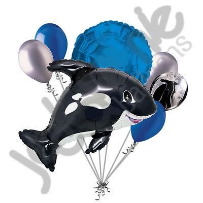 7 pc Orca Black Killer Whale Balloon Bouquet Party Decoration Fish Ocean Sea](Fish Balloons)