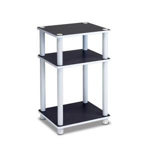New  Furinno 11087 Just 3-Tier No Tools Tube End Table, White with White Tube Condition: New