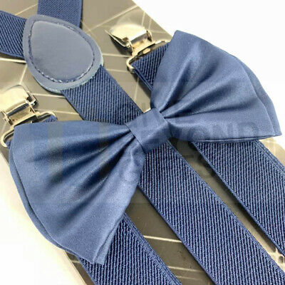 Suspender and Bow Tie Adults Men Navy Blue Set Wedding Formal Wear Accessories