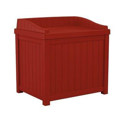 Red Deck Storage Box Outdoor Patio Seat 22 Gal. Garden Pool Waterproof Bin -