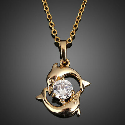 Cute Couple Dolphin 18k Gold Plated Crystal Necklace Lady Pendant Chain Jewelry
