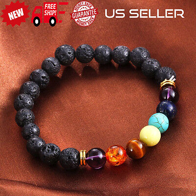 7 Chakra Energy Yoga Bracelet Natural Lava Stone Colorful Beads Stretchable Usa