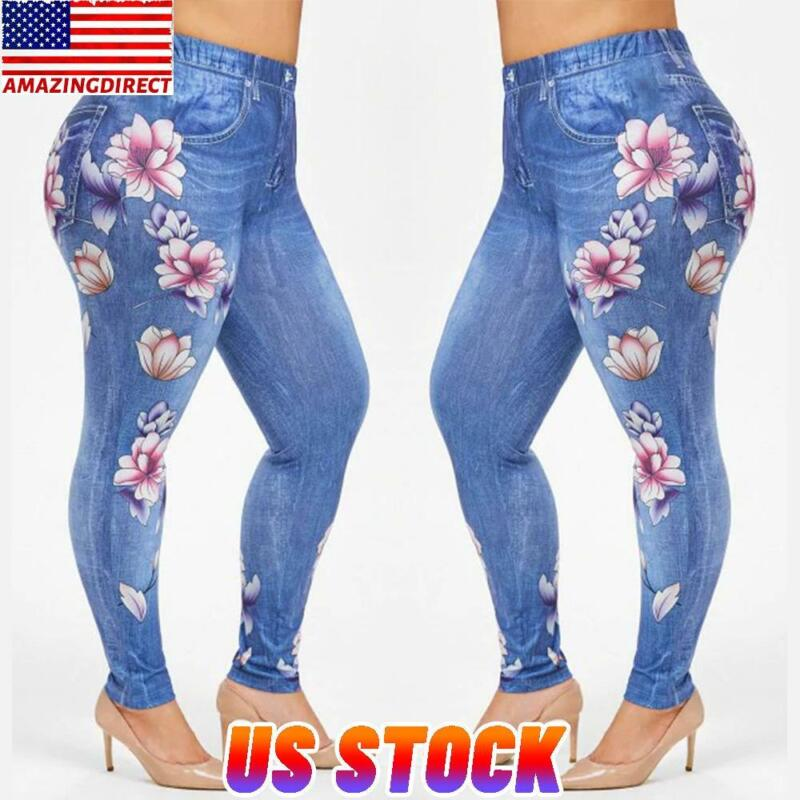 Women Plus Size Stretch Denim Pants Leggings Jeggings Shorts High Waist Trouser