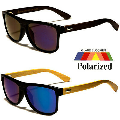 FLAT TOP BLACK FRAME POLARIZED WOOD SID RETRO Design  PILOT (Black Wood Sunglasses)
