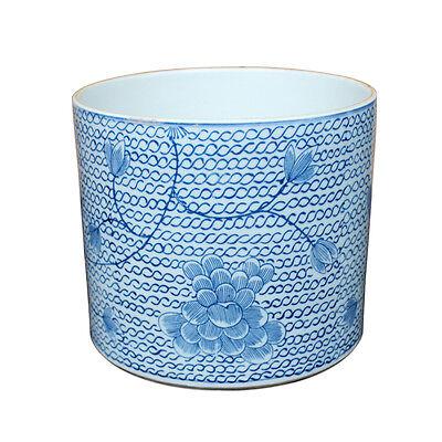 "Blue and White Porcelain Chain Lotus Flower Pot 6.5"""