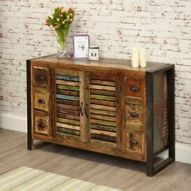 Rustic Industrial Six Drawer Sideboard - Reclaimed Wood