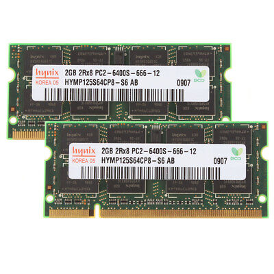 Hynix Chip (2x 2GB For Hynix Chip DDR2-800 MHz PC2-6400S 200PIN SO-DIMM Laptop RAM Memory &9)