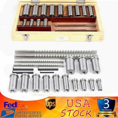 22pcs Keyway Broach Kit Metric Size Broaching Cutter 12-30mm Bushing Shim Set