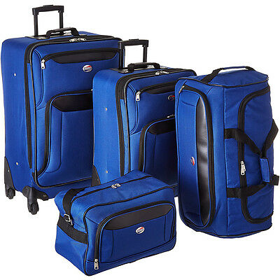 American Tourister Brookfield Navy 4 Pc Luggage Set (2 Spinners, Bag, Duffle)
