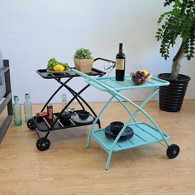 2 Tier Rolling Kitchen Cart Serving Side Table Multi-functional Storage Cart Bar Dining Room Kitchen Serving Cart