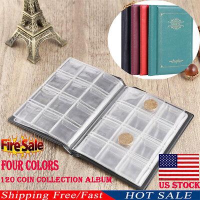 US 120 Coin Collection Holders Storage Money Penny Pocket Album Book Folder Case