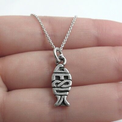 Jesus Fish Necklace (925 Sterling Silver Jesus Christian Fish Charm with)