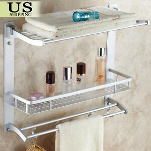 towel racks for bathroom. Towel Rack Bathroom Shelf Organizer Wall Mounted Bar Toilet Storage Bath  Caddy eBay