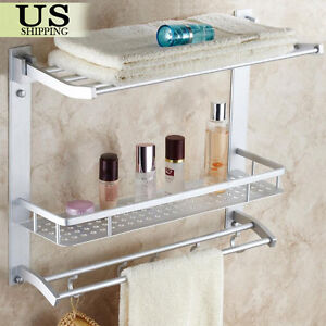 Towel Rack Bathroom Shelf Organizer Wall Mounted Bar Toilet Storage Bath  Caddy